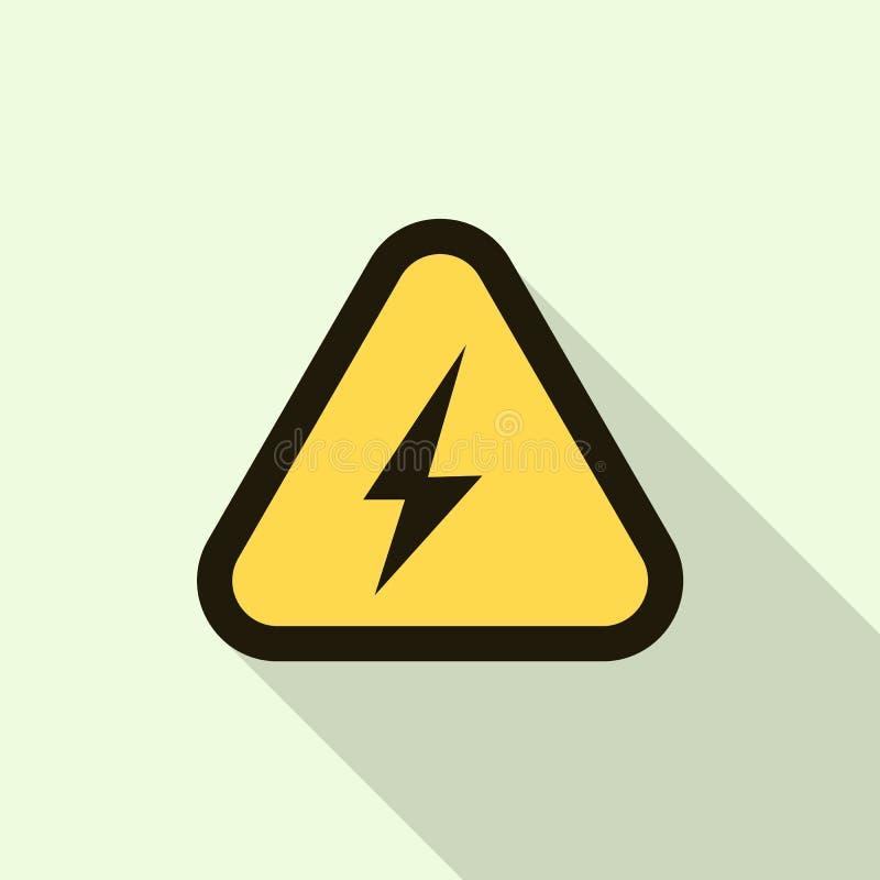För gulingtecken för elektrisk chock symbol, lägenhetstil royaltyfri illustrationer