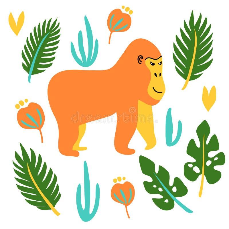 för gullig löst djur tecknad filmgorilla för vektor med bladet royaltyfri illustrationer