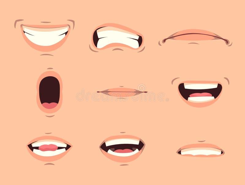 För gulliga ställde ansikts- gester in munuttryck för tecknad film med att truta kanter som ler klibba ut tungan isolerade illust royaltyfri illustrationer