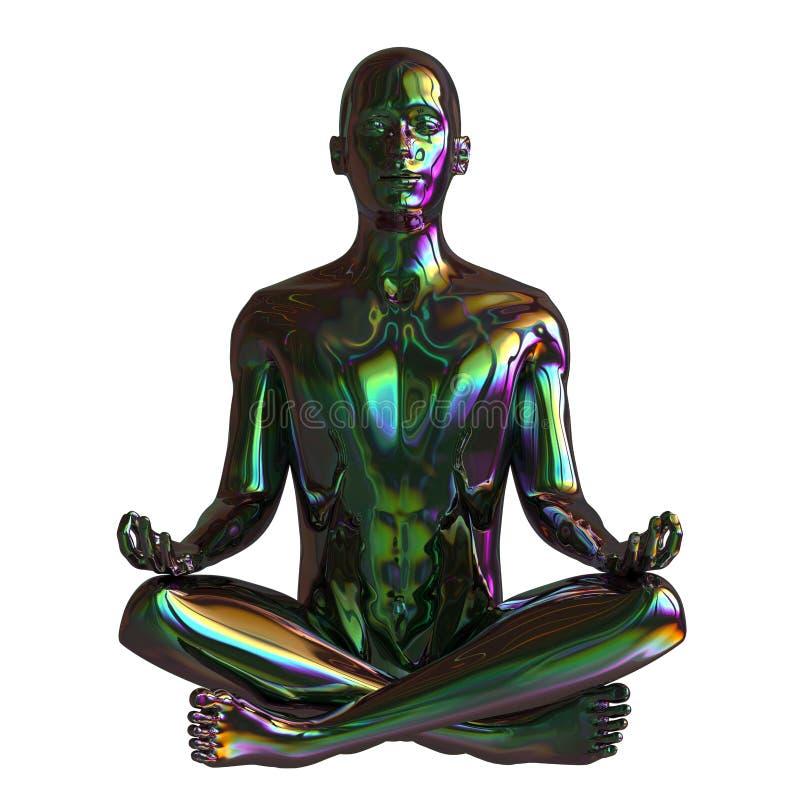 För guruzenen för järn poserar det mänskliga mentala lotusblomma för mannen teckenet stiliserad vektor illustrationer