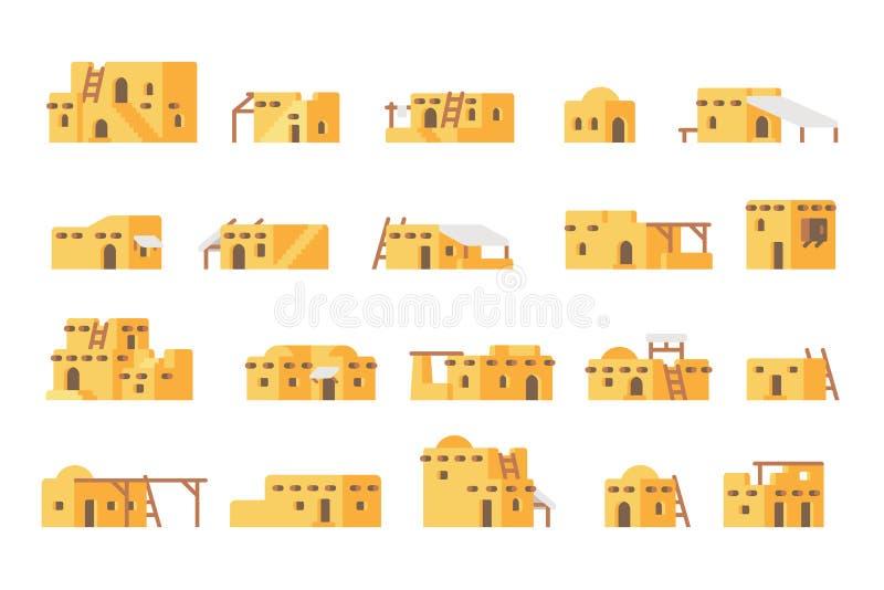 För gyttjahus för plan design arabisk uppsättning arkivfoto