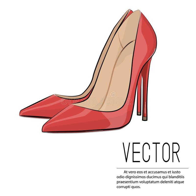 För hälmode för vektor röd illustration Illustration för hög häl för glamour kvinnlig Sexiga läderkvinnaskor på vit backgroun vektor illustrationer