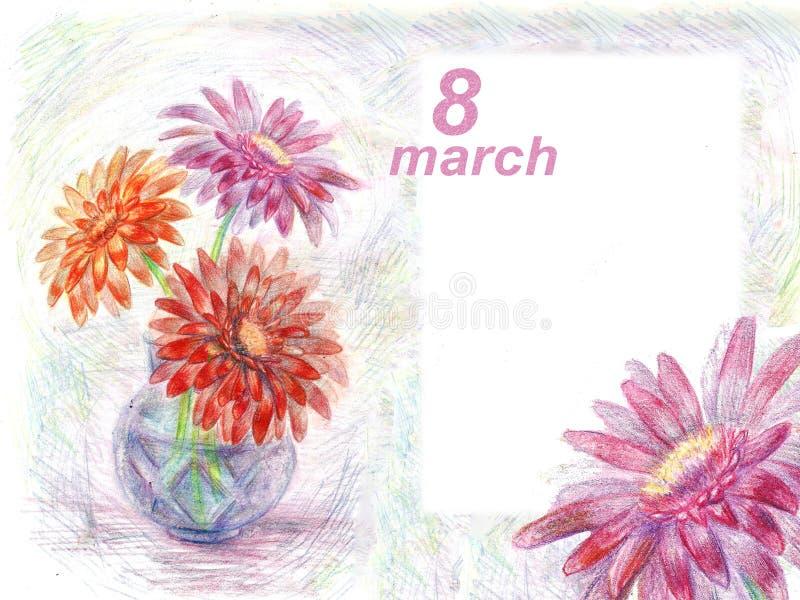 8 för hälsningbakgrund för marsch gerbera för illustration för blyertspenna i en va royaltyfri illustrationer