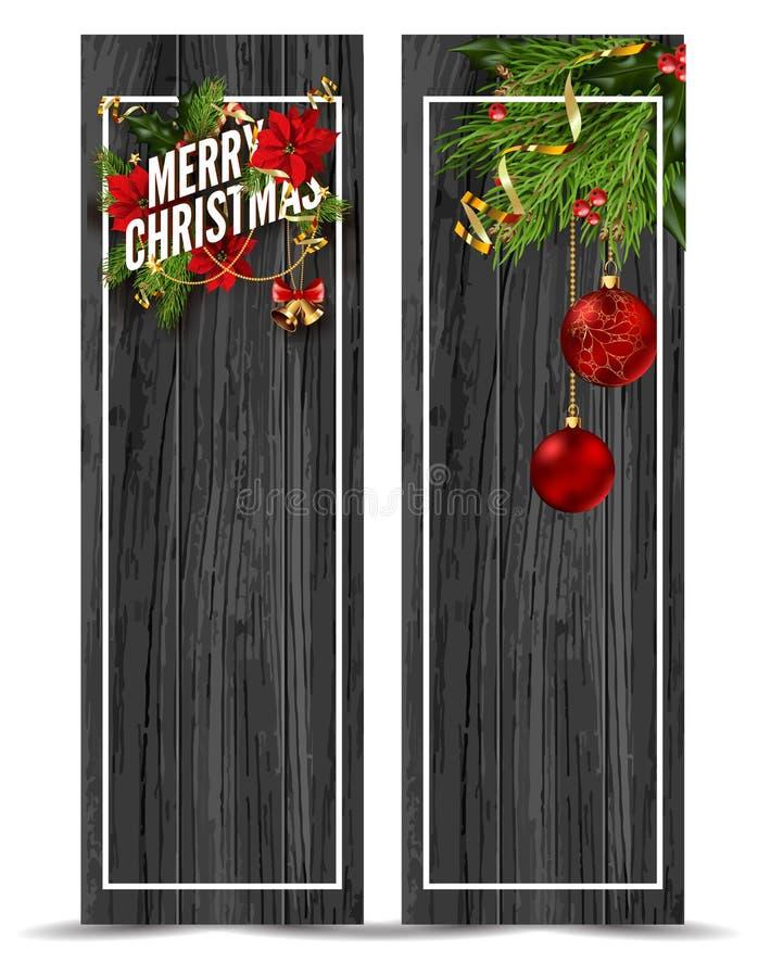 För hälsningkort för glad jul mall stock illustrationer