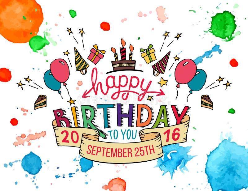 För hälsningkort för lycklig födelsedag bokstäver för hand royaltyfri illustrationer