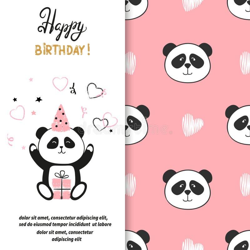 För hälsningkort för lycklig födelsedag design med den gulliga pandabjörnen vektor illustrationer