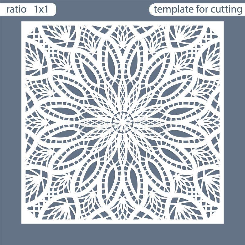 För hälsningkort för mall fyrkantigt snitt för laser Passande för att gifta sig inbjudningar Mallhälsningkort för bitande plottar stock illustrationer