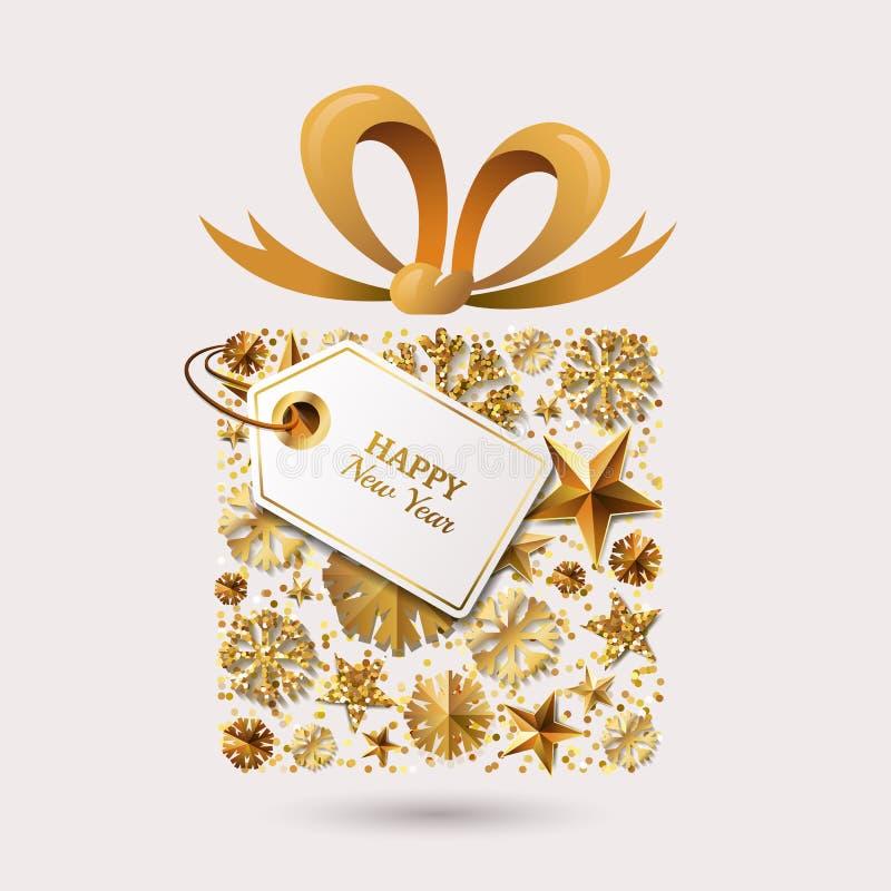 För hälsningkort för nytt år mall Gåvaask med guld- stjärnor 3d, snöflingor, pilbågebandet och etiketten royaltyfri illustrationer