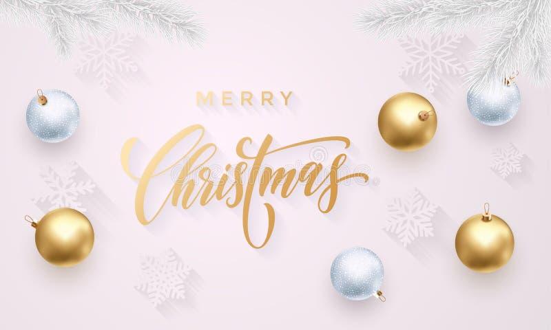 För hälsningkort för glad jul bakgrund för nytt år för konfettier för garnering för vektor guld- stock illustrationer