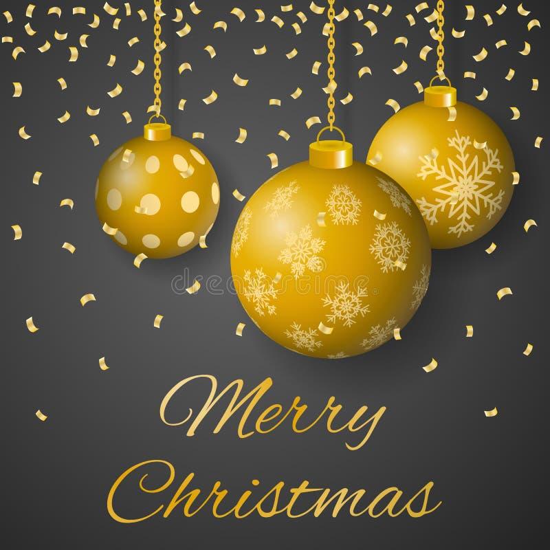 För hälsningkort för glad jul lyxig vektor med dekorerade hängande guld- kulöra julprydnader på grå bakgrund arkivbilder