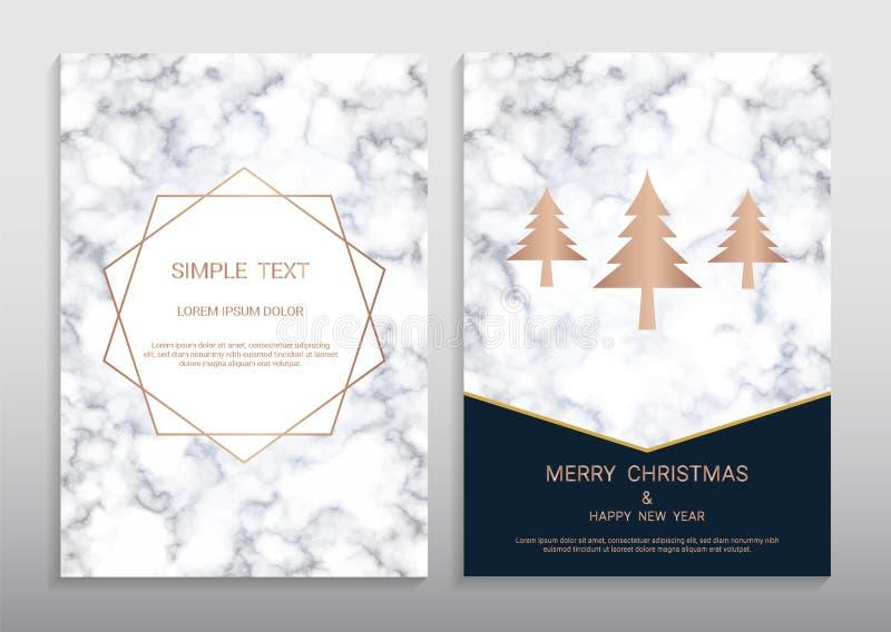 För hälsningkort för glad jul och för lyckligt nytt år mall för design vektor illustrationer