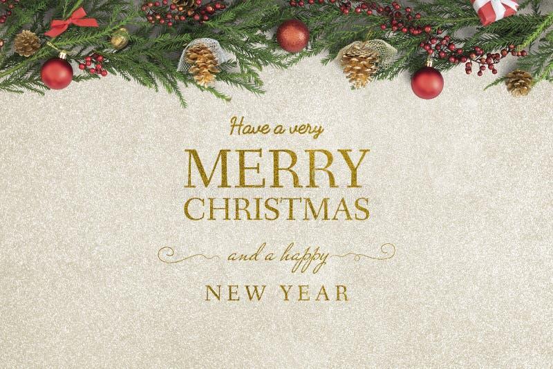 För hälsningkort för glad jul och för lyckligt nytt år modell arkivbilder