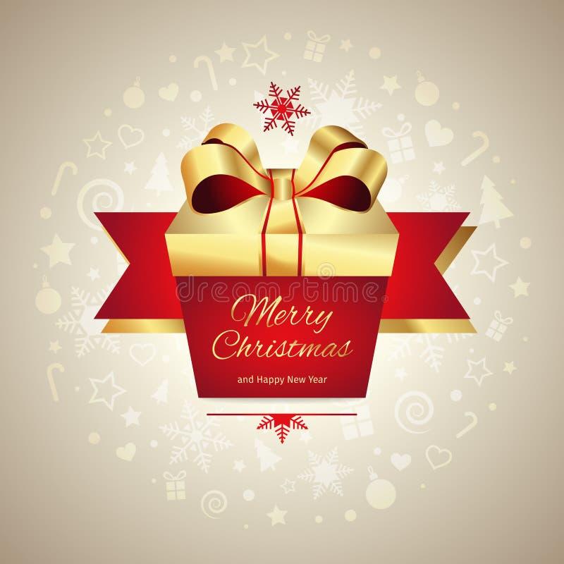 För hälsningkort för glad jul och för nytt år ask för gåva med det guld- röda bandet, vektorillustration royaltyfri illustrationer