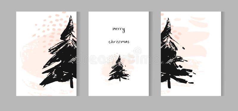 För hälsningkort för glad jul uppsättning med det gulliga xmas-trädet, santa och retro designer för hjortar Inkluderar themed söm vektor illustrationer