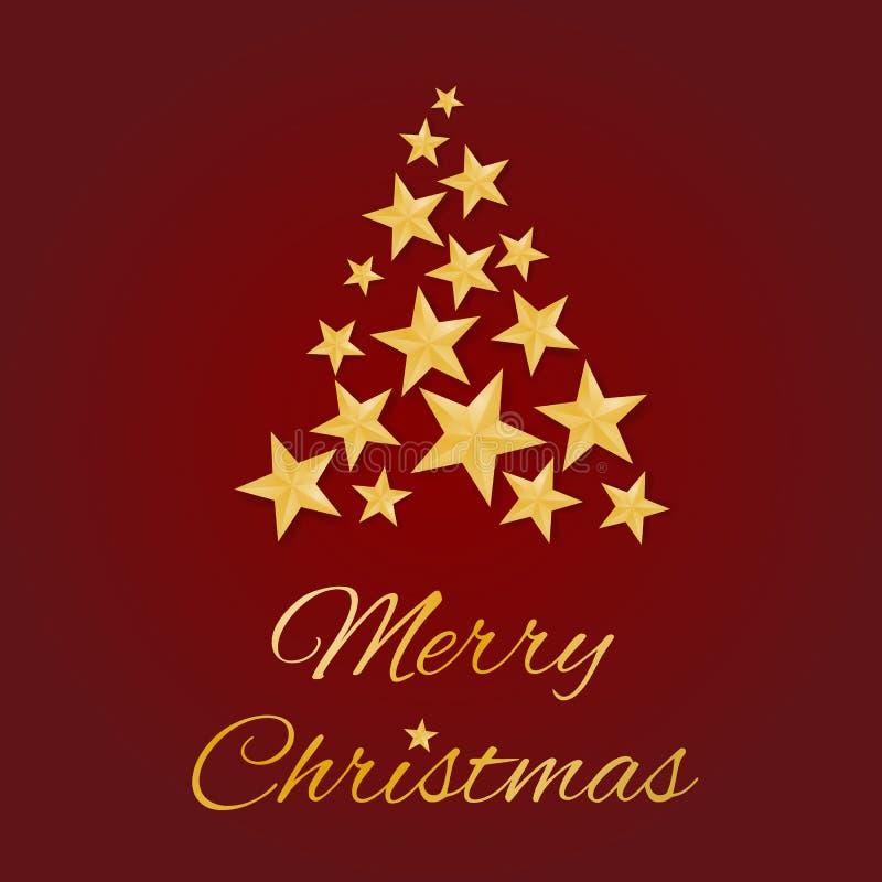 För hälsningkort för glad jul vektor med guld- stjärnor i form av ett träd på röd bakgrund stock illustrationer
