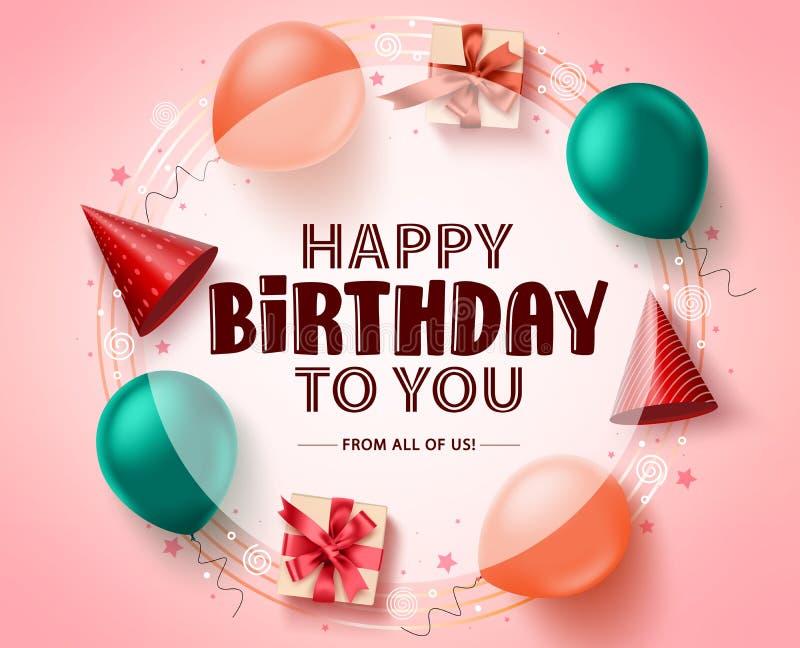 För hälsningkort för lycklig födelsedag mall för baner för vektor Lycklig födelsedag i den vita tomma cirkeln för meddelande vektor illustrationer