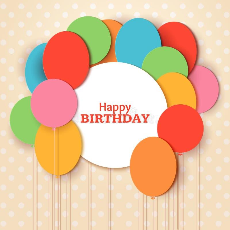 För hälsningkort för lycklig födelsedag mall med vitrundaramen Att flyga papperssnittet sväller på blå bakgrund vektor royaltyfri illustrationer