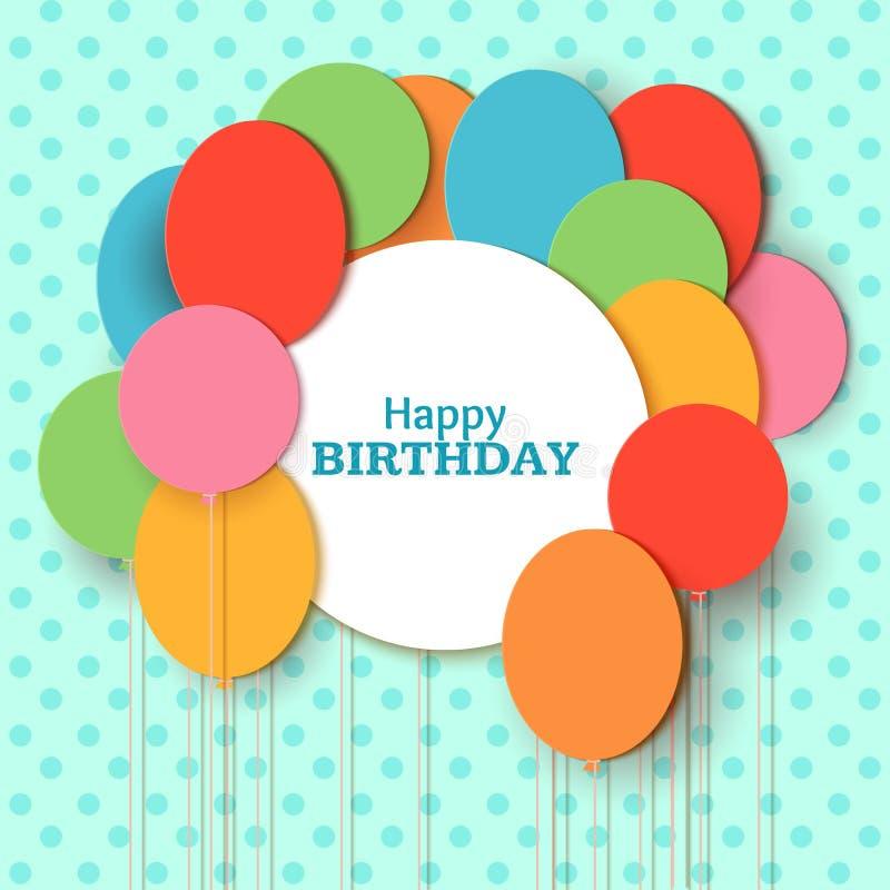 För hälsningkort för lycklig födelsedag mall med vitrundaramen Att flyga papperssnittet sväller på blå bakgrund vektor vektor illustrationer