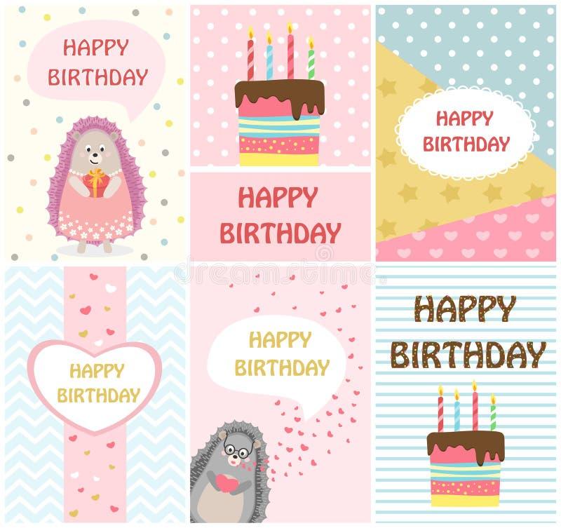 För hälsningkort för lycklig födelsedag mallar och partiinbjudningar för ungar, uppsättning av vykort stock illustrationer