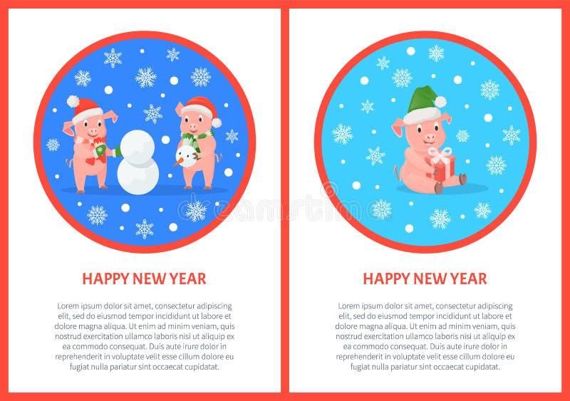 För hälsningkort för lyckligt nytt år svin i rund ram stock illustrationer