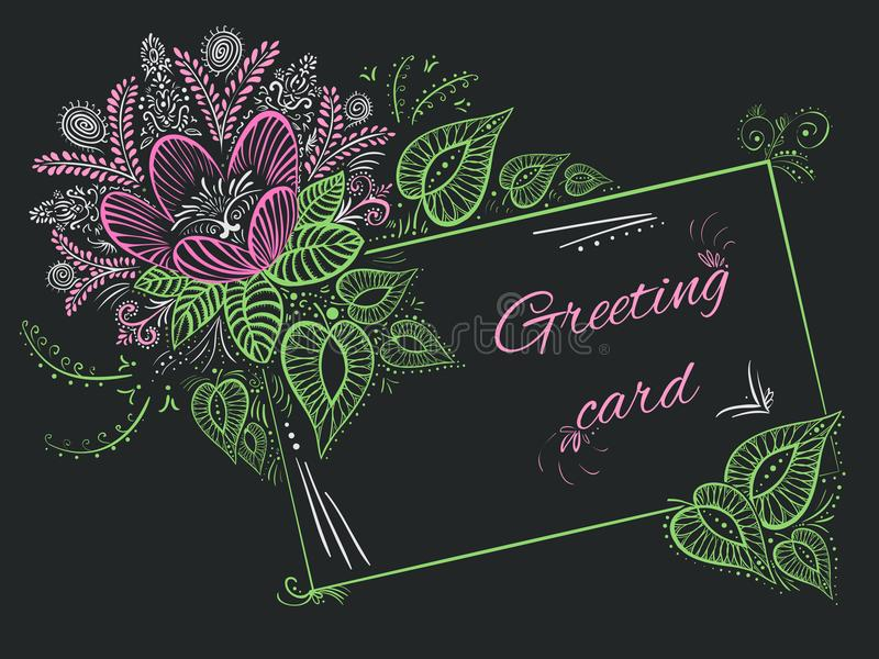 För hälsningkort för vektor elegant blomma för dekor och gröna tjänstledigheter stock illustrationer
