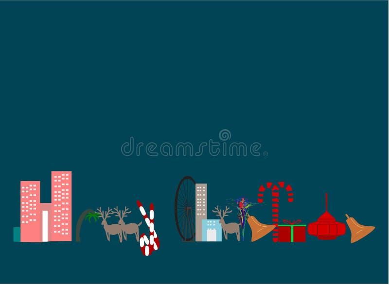 För hälsningkortet för glad jul lite för bakgrund gör mer randier hängande smällare för träd för byggnader för den guld- klockan  vektor illustrationer