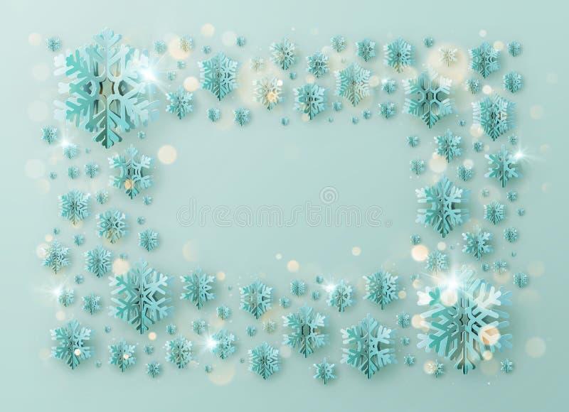 För hälsningmall för glad jul och för lyckligt nytt år ram med foliesnöflingor för ferieaffischer, plakat, baner royaltyfri illustrationer