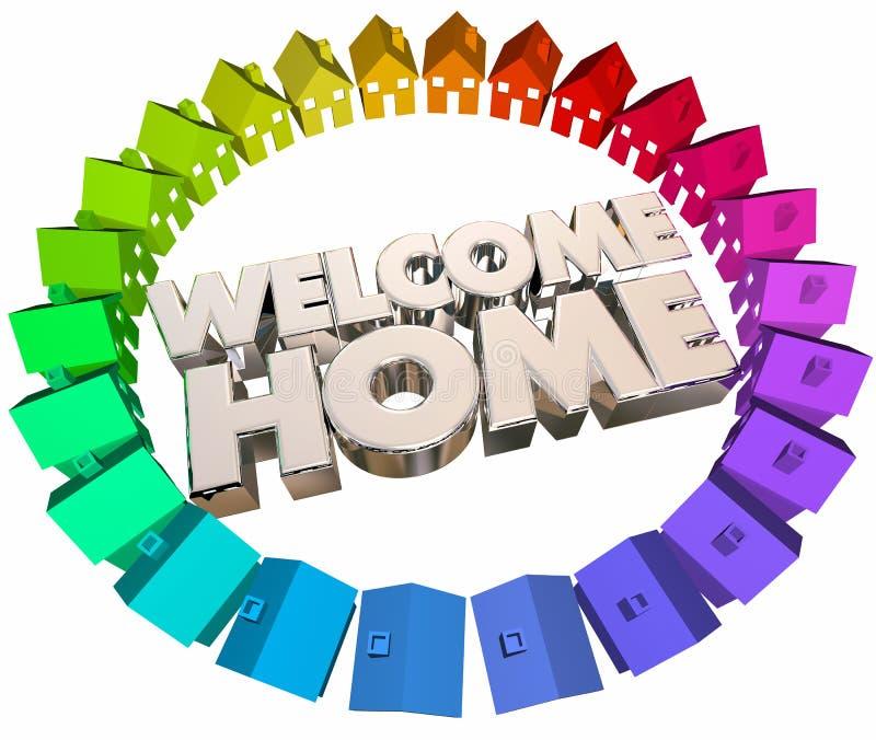 För hälsningretur för välkomnande hem- hus tillbaka stock illustrationer