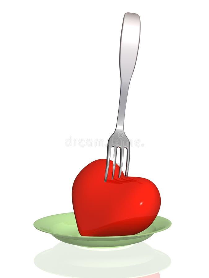 för hälsohjärta för mat skadligt hot till stock illustrationer
