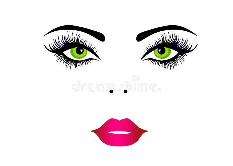 För härlig bärande makeup kvinnaframsida för rengöringsduk f?r illustrationsk?ld f?r 10 eps vektor royaltyfri illustrationer