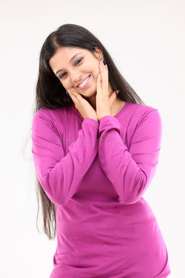 för härlig trevlig pink klänninglady för uppgifter arkivbilder
