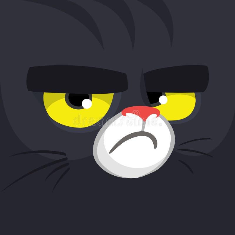 För häxakatt för tecknad film svart framsida Gullig fyrkantig avatar eller symbol natt för halloween illustrationmoon stock illustrationer