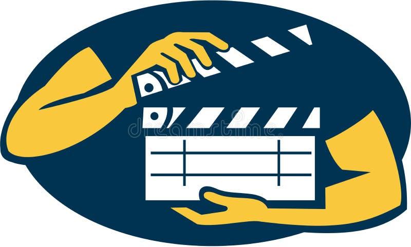 För hållande ovalt Retro filmpanelbräda för hand royaltyfri illustrationer