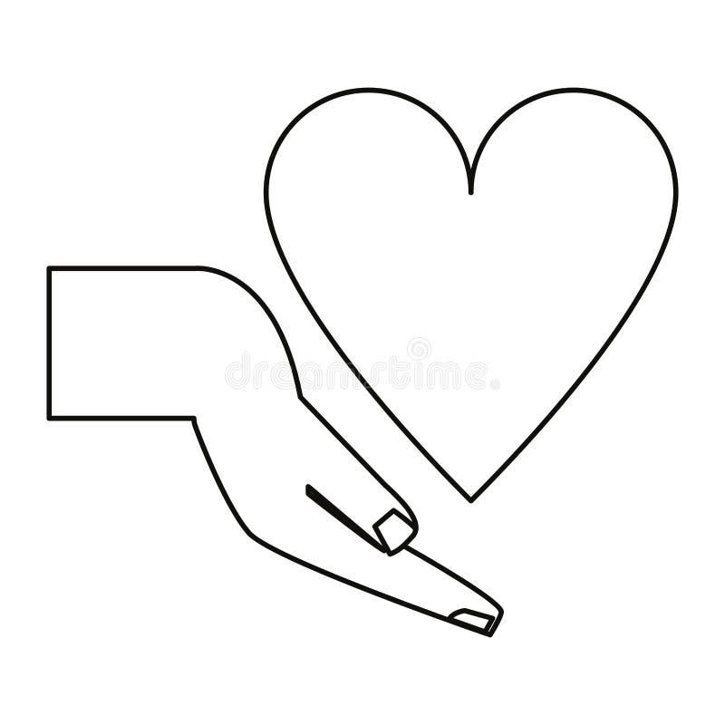 För hållande tunn linje hjärtasjukvård för hand royaltyfri illustrationer