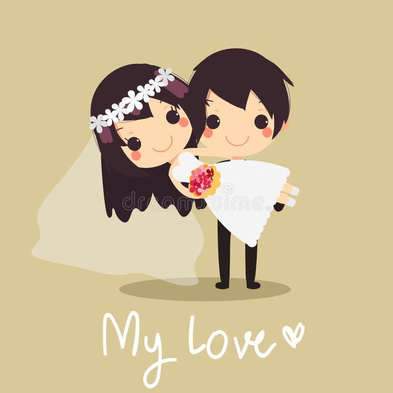 För hållande vektor för förälskelse för bröllop brudarns för make gullig royaltyfri illustrationer
