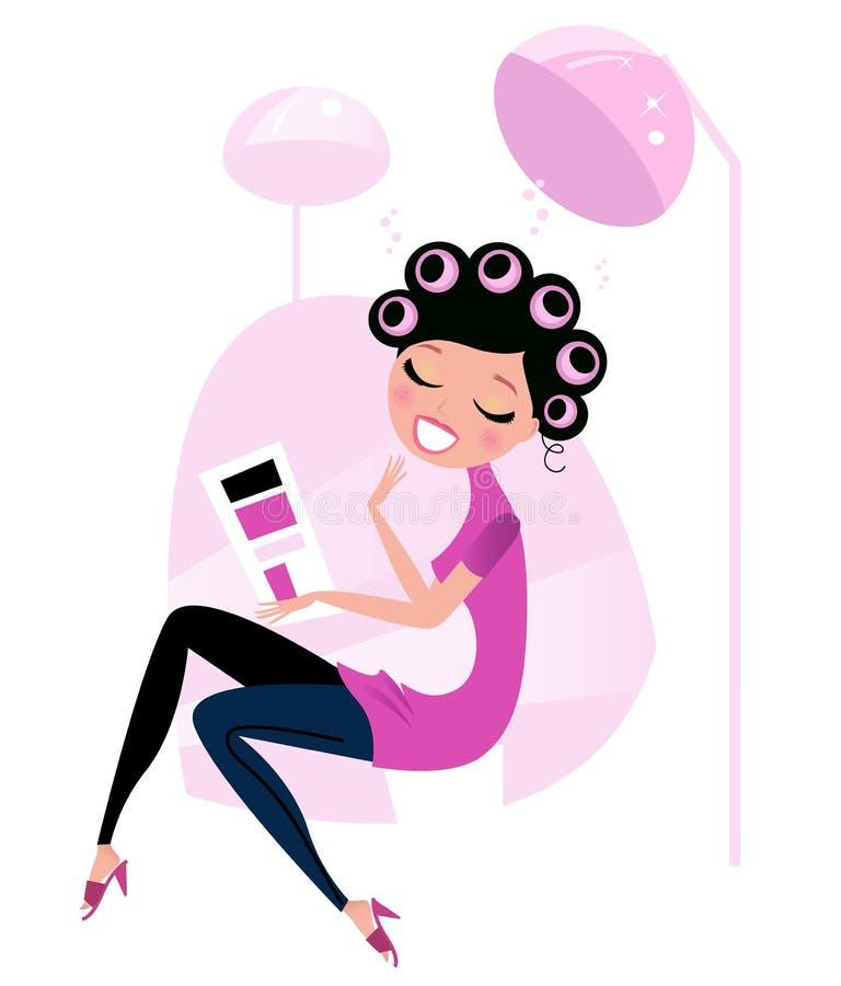 för hårpink för skönhet gullig kvinna för salong royaltyfri illustrationer