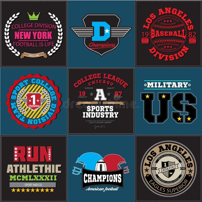 För högskolabaseball för sport idrotts- samling för emblem för logo för fotboll Diagram och typografit-skjorta design för dräkt stock illustrationer