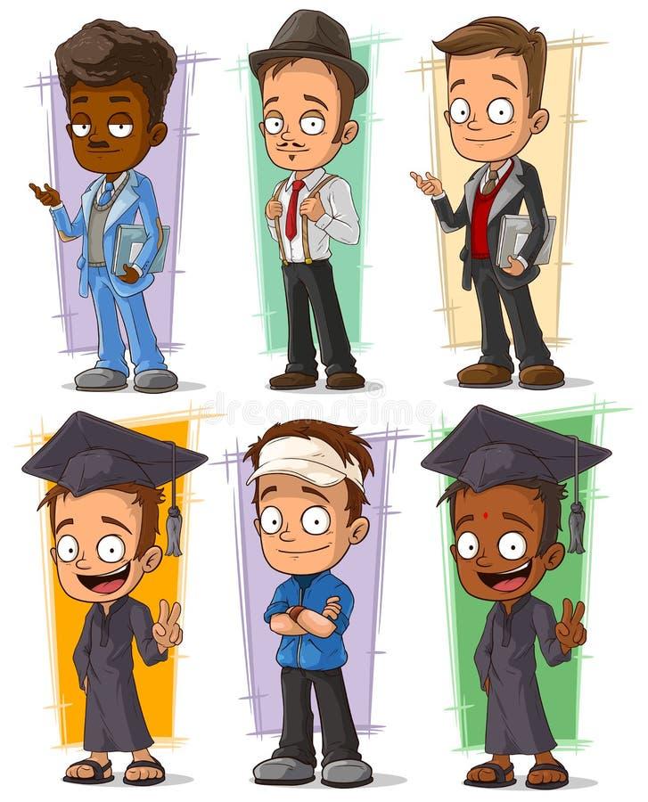 För högskolestudenttecken för tecknad film lycklig uppsättning för vektor royaltyfri illustrationer