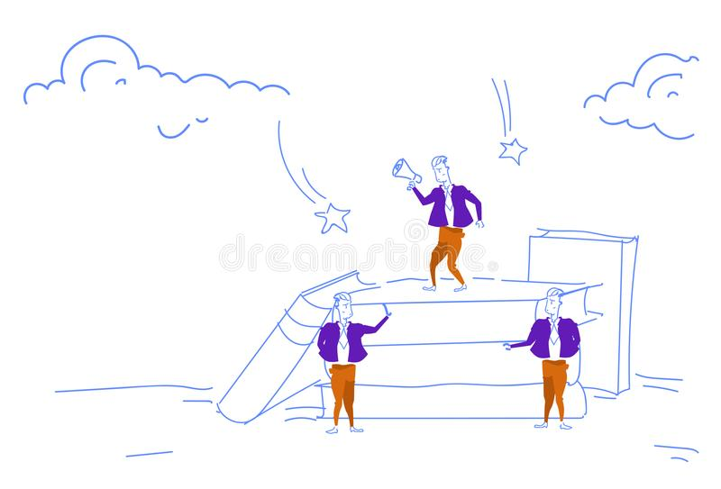 För högtalaremeddelandet för affärsmannen skissar den hållande ledaren för laget för högtalaren för mannen för tribun för bunten  vektor illustrationer