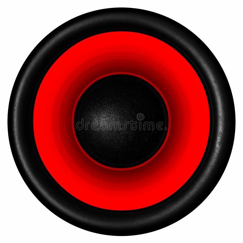 för högtalaresystem för akustisk ljudsignal bakgrund 3d röd white arkivbild
