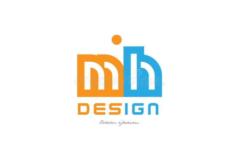 för H-apelsin för mh M kombination för logo för bokstav för alfabet för blått stock illustrationer
