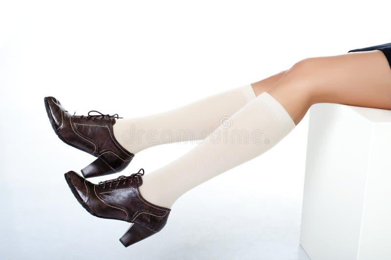 för half slitage för skor slangben för mode model arkivbilder