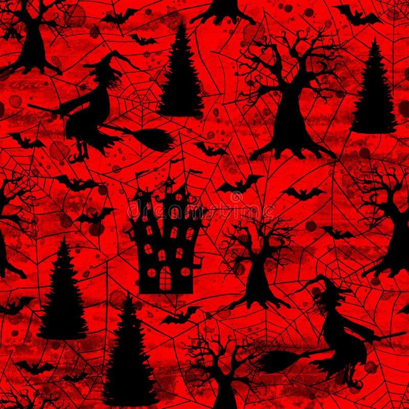 För halloween för blodigt rött grungeabstrakt begrepp för blod bakgrund sömlös modell stock illustrationer