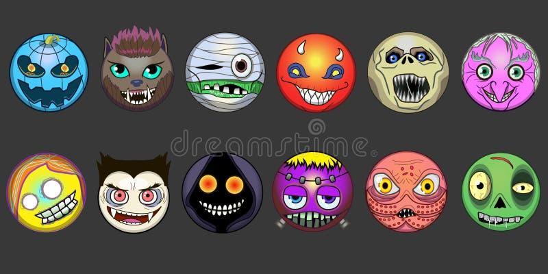 För halloween för emoji för Ð-¡ ute Frankenstein för framsida för leende för pumpa häxa levande död för eps för varulv för lyckli vektor illustrationer