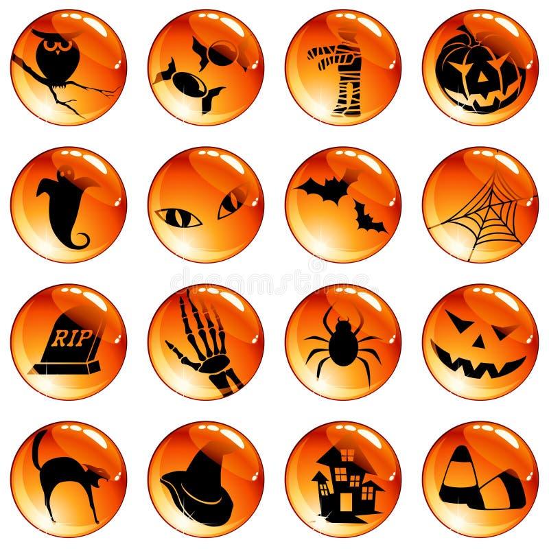 för halloween för 16 knappar set orange vektor illustrationer