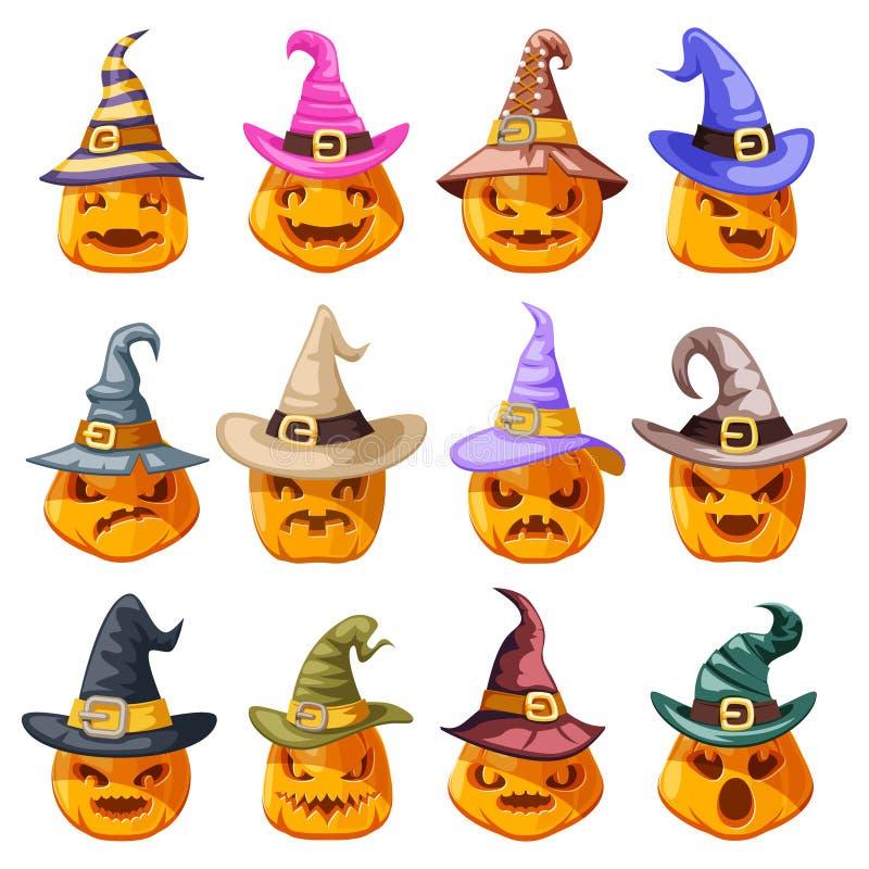 För halloween för häxahattgarnering vektor för design för tecknad film för symboler för emoji för leende för framsidor för pumpa  vektor illustrationer