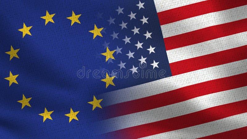 För halvaflaggor för EU och USA realistisk europeisk union tillsammans - royaltyfri illustrationer