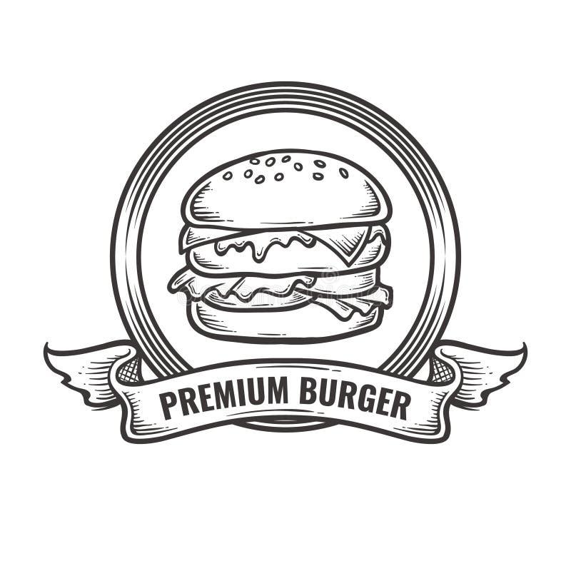 För hamburgareställe för tappning högvärdig logo fotografering för bildbyråer
