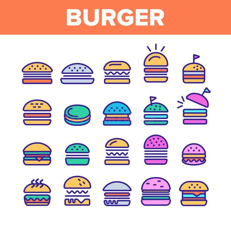För hamburgaretecken för färg ställde läckra symboler in vektorn royaltyfri illustrationer