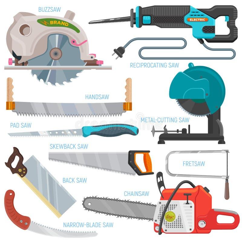 För hand-såg för sågande utrustning för sågvektor hjälpmedel för metall för snickeri för chainsaw bågfil och pullsawsågspånmed de vektor illustrationer
